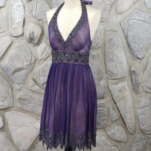 Cache Purple Silk Beaded Party Dress